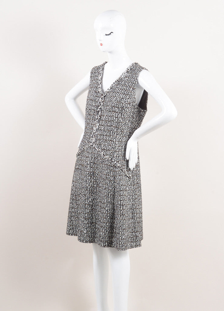 Oscar de la Renta New With Tags Brown and Cream Wool Blend Tweed Sleeveless V-Neck Dress Sideview