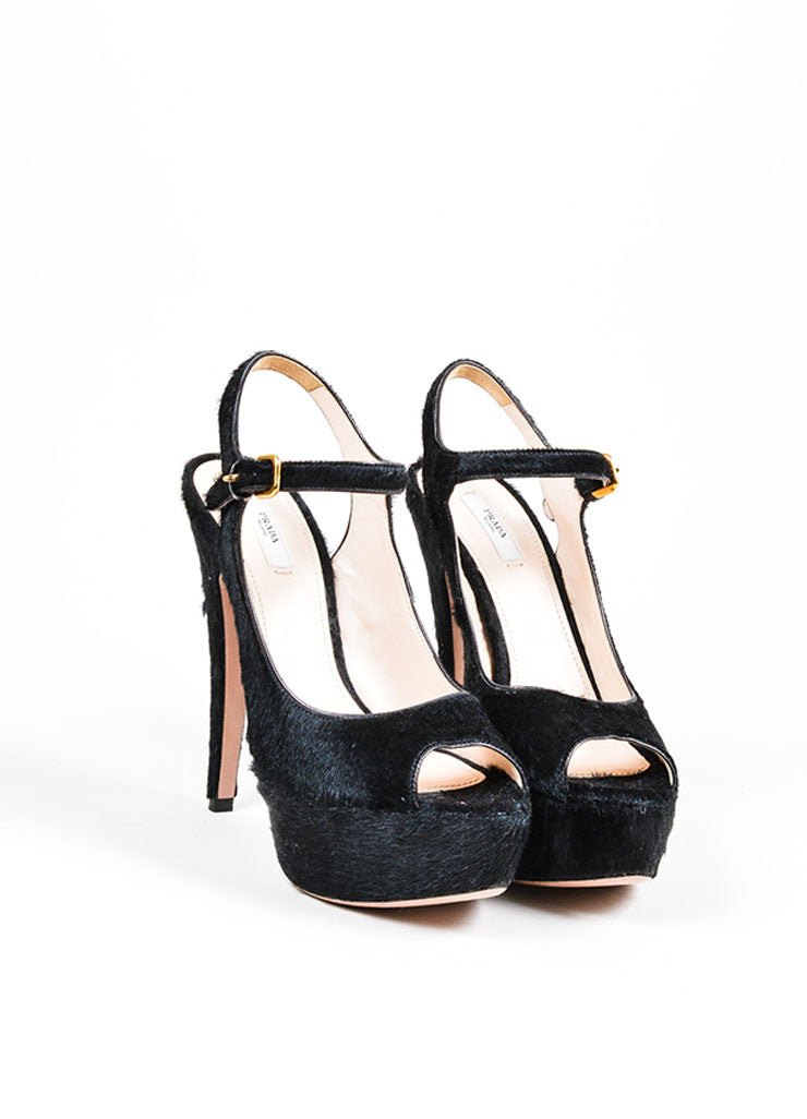 Black Prada Pony Hair Platform Heeled Ankle Strap Peep Toe Sandals Frontview