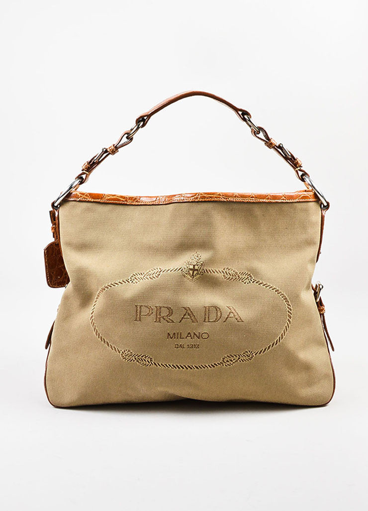 Prada Tan and Brown Canvas Crocodile Trim Logo Hobo Shoulder Bag Frontview