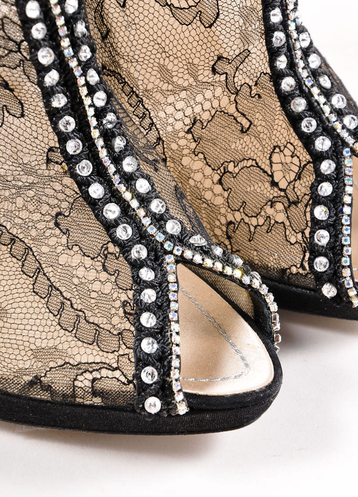 Rene Caovilla Black and Nude Sheer Floral Lace Rhinestone Embellished Booties Detail