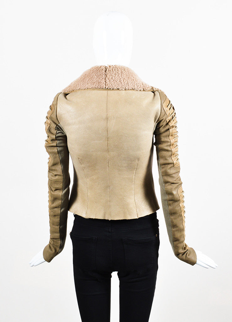 "Rick Owens ""Camel"" Tan Shearling Leather Zip Front Moto Jacket Backview"