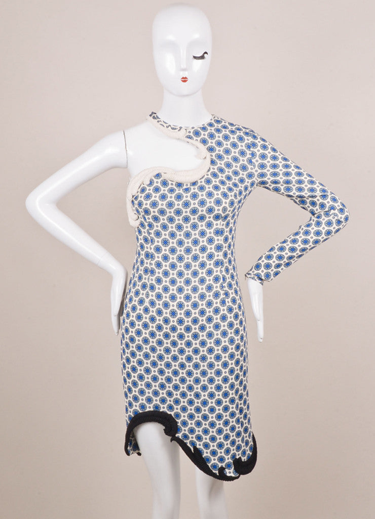 Stella McCartney White and Blue One Sleeve Dress Frontview