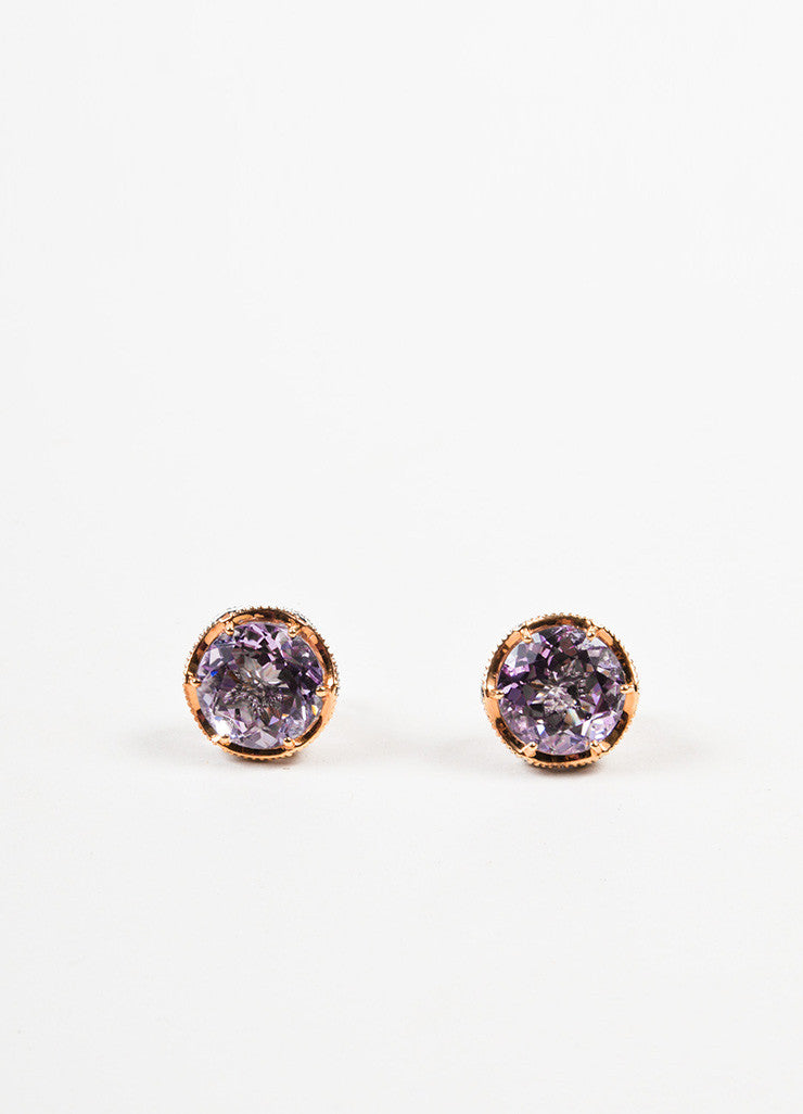 Tacori Sterling Silver, 18K Rose Gold, and Amethyst Post Earrings Frontview