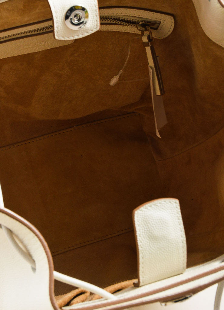 "The Row White and Brown Pebbled Leather Drawstring ""Bucket 10"" Bag Interior"