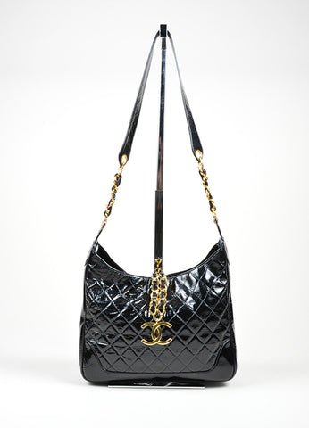 Black Patent Leather and 18K Gold Plated Chanel 'CC' Chain Tab Cross Body Bag Frontview