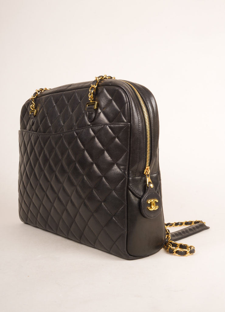Chanel Black Quilted Leather Chain Strap Shoulder Bag Sideview