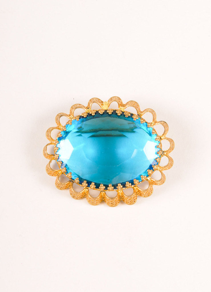 Vintage Gold Toned and Blue Faceted Gem and Metal Filigree Oval Pin Brooch Frontview