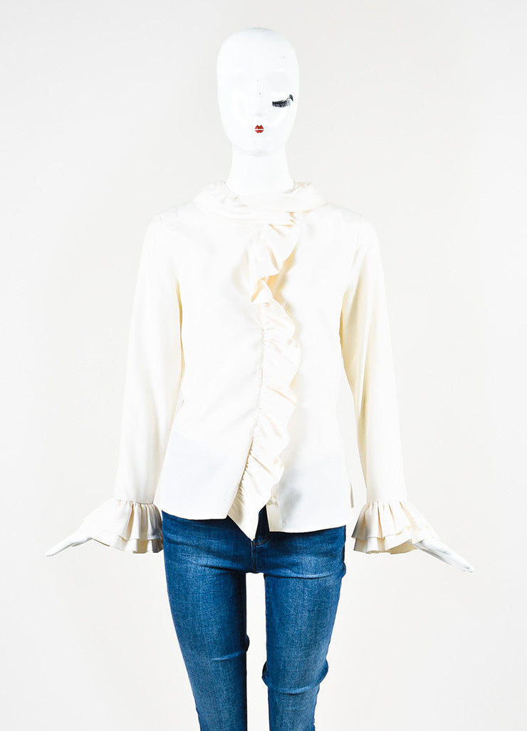 Gucci Cream Silk Layered Ruffle Long Sleeve Button Up Blouse Frontview