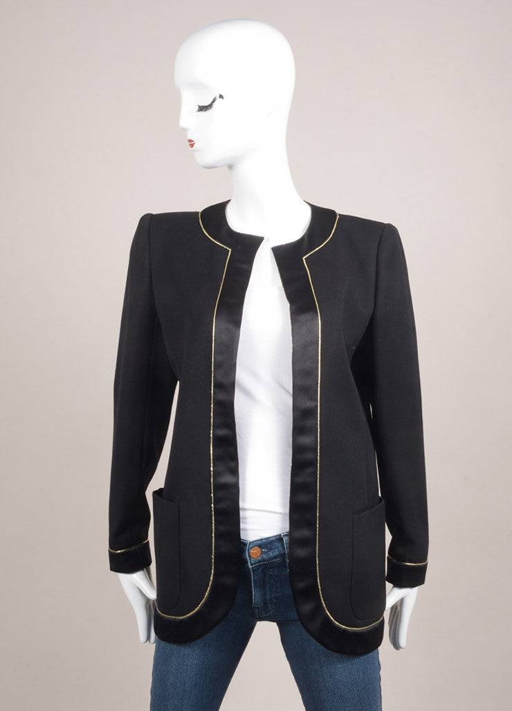Valentino Black and Gold Metallic Silk and Wool Blazer Jacket Frontview