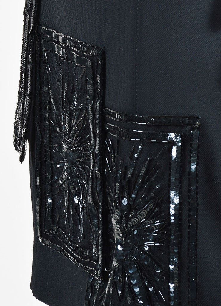 Valentino Black Wool and Silk Beaded Short Sleeve Sheath Dress Detail