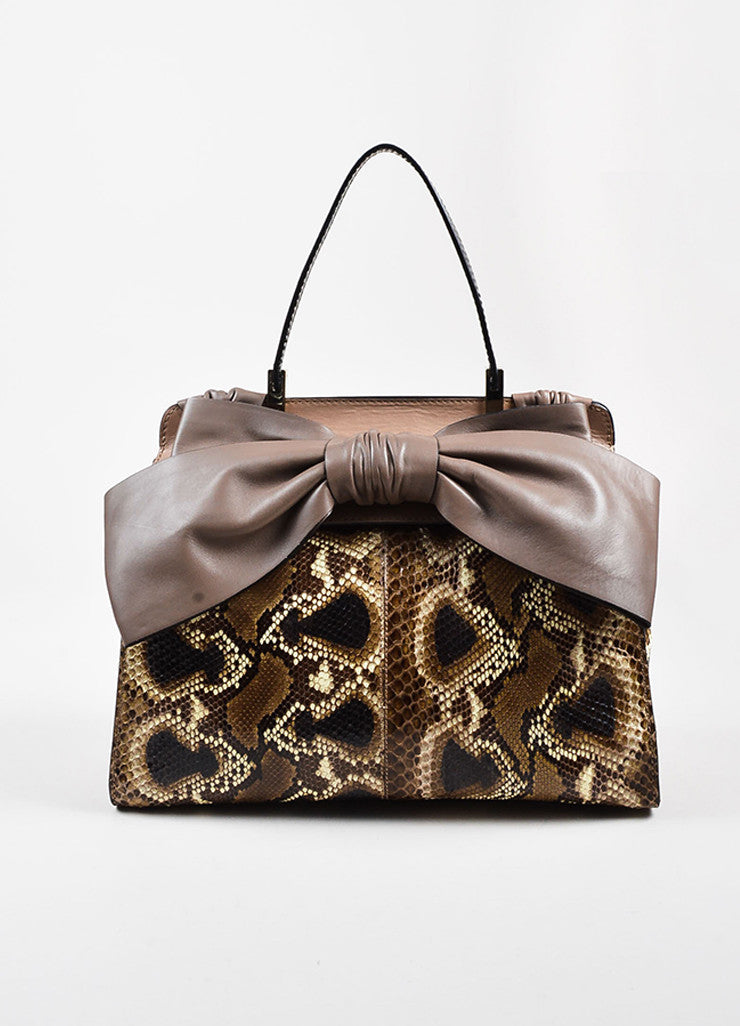 "Valentino Garavani Taupe and Black Python and Leather ""Aphrodite"" Satchel Bag Frontview"