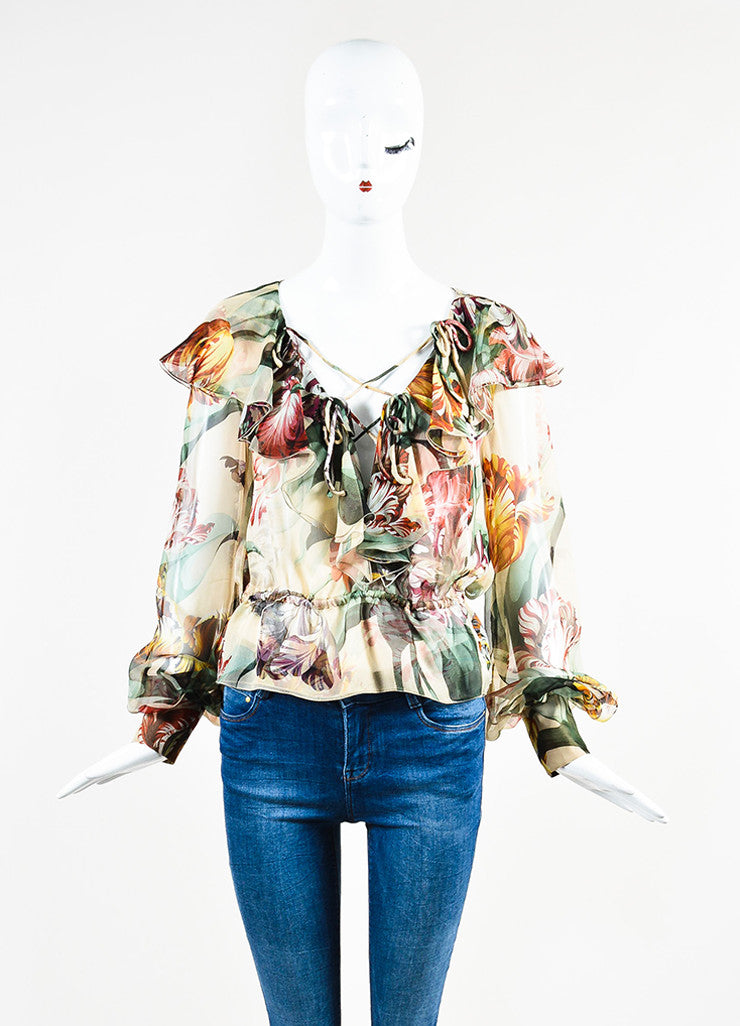 Valentino Multicolor Floral Chiffon Ruffled Sheer Criss Cross Long Sleeve Blouse Frontview