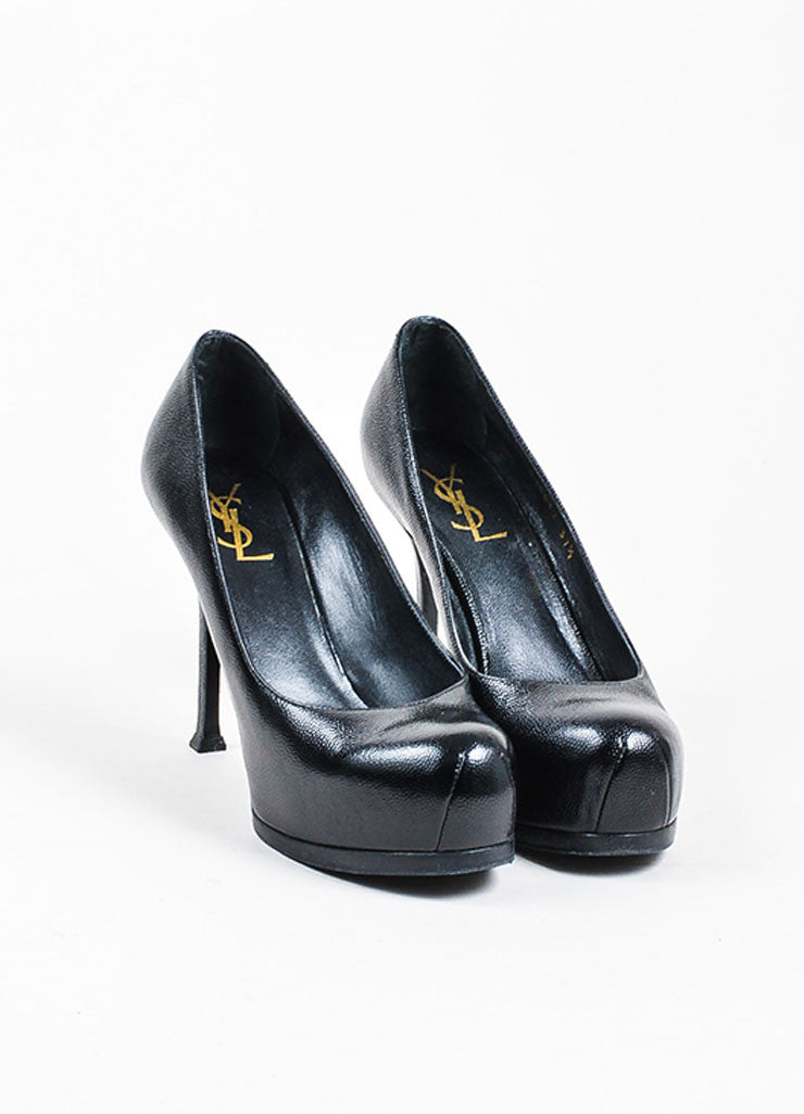 "Black Yves Saint Laurent Rive Gauche Pebble Leather ""Tribtoo"" Pumps Frontview"