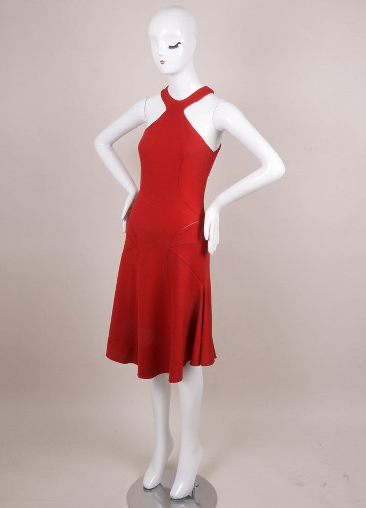 Bright Red Alaia Stitched Angled Racerfront/back Flared Knit Dress