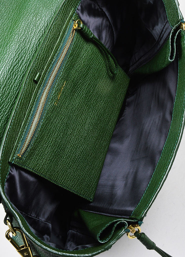"3.1 Phillip Lim Jade Textured Leather Large ""Pashli"" Satchel Bag Interior"