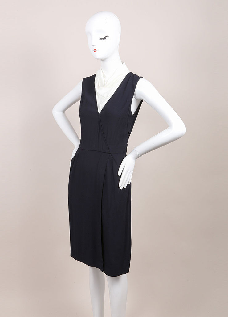 "A.L.C. New With Tags Navy and White Contrast Sleeveless Wrap ""Kweli"" Dress Sideview"