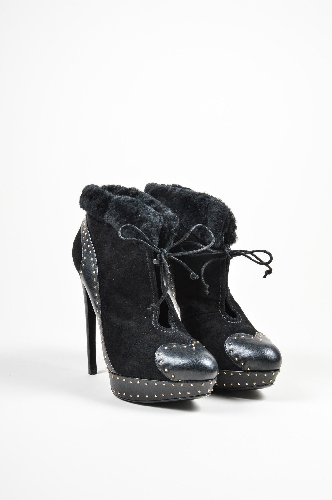 Black Alexander McQueen Suede Leather Studded Shearling Ankle Booties Frontview
