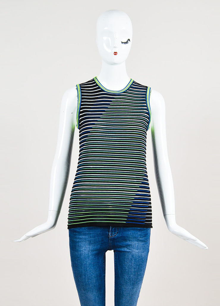 Alexander Wang Black, Neon Yellow, and Blue Sleeveless U-Neck Top Frontview