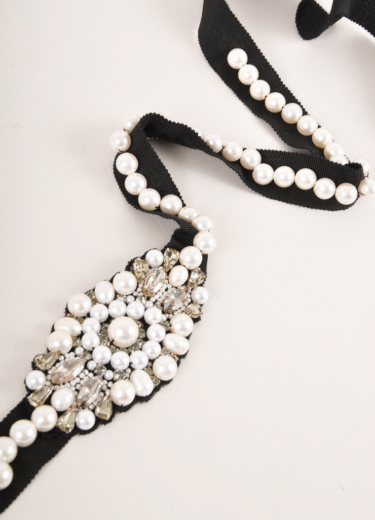 Andrew Gn New Black, Cream, and Clear Faux Pearl and Rhinestone Grosgrain Belt Detail 2
