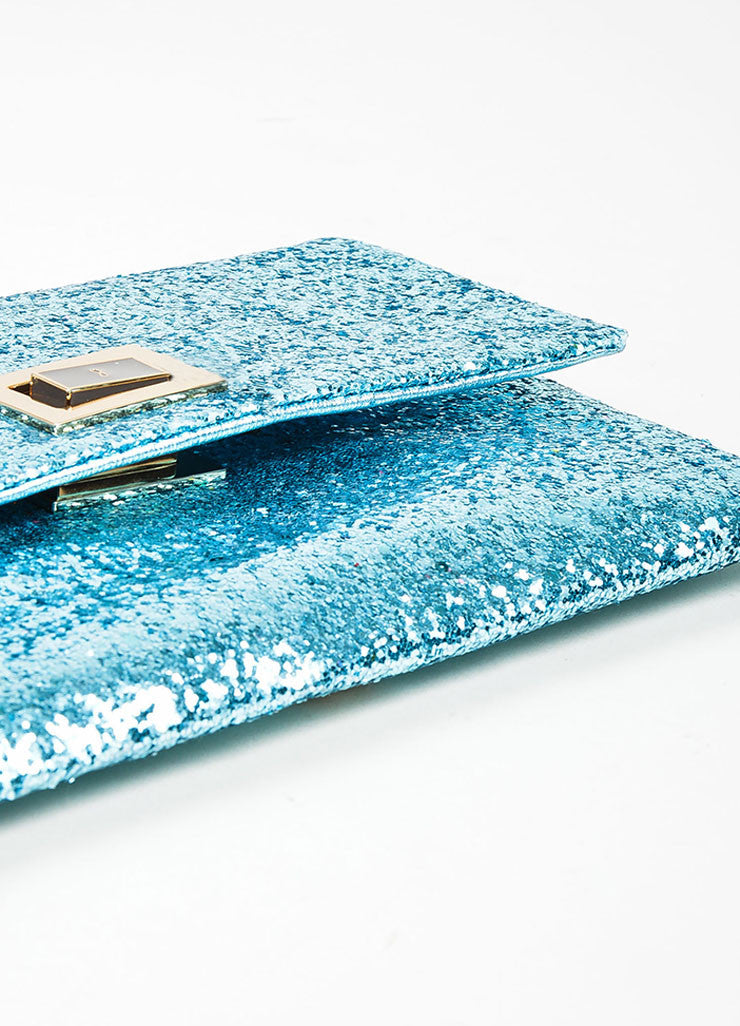 "BAnya Hindmarch Aqua Blue Glitter Embellished ""Valorie"" Flap Clutch Bag Bottom View"