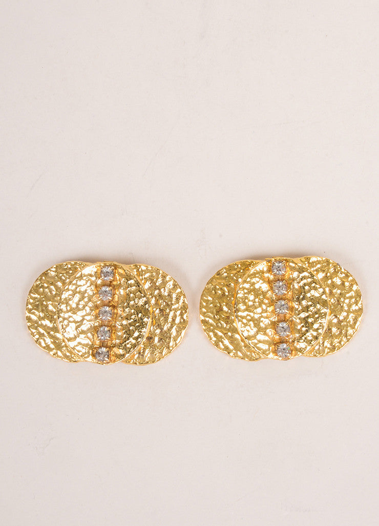 Bluette Gold Toned Rhinestone Embellished Shoe Clips Frontview