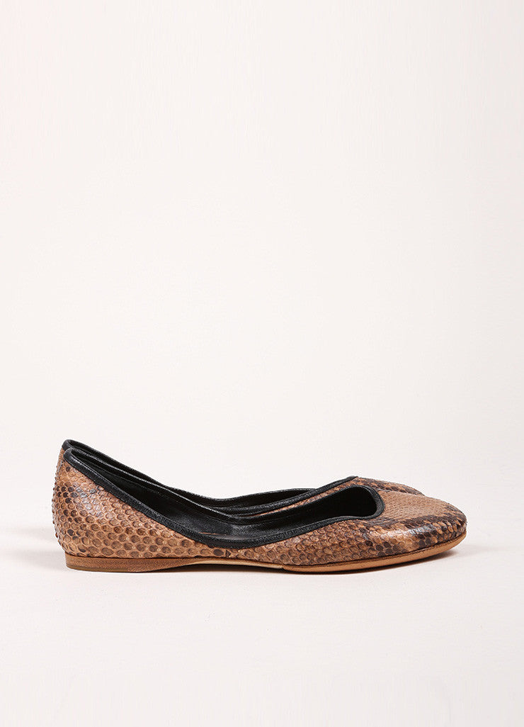 Celine Brown and Black Snakeskin Round Toe Flats Sideview