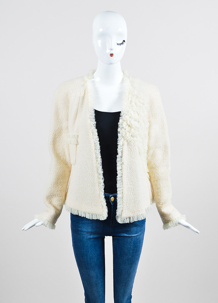 Cream Chanel Wool Tweed and Silk Ruffle Detail V-Neck Blazer Frontview