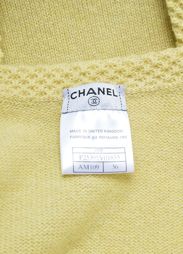 Chanel Chartreuse Cashmere Embellished Pin Cardigan and Shell Set Brand
