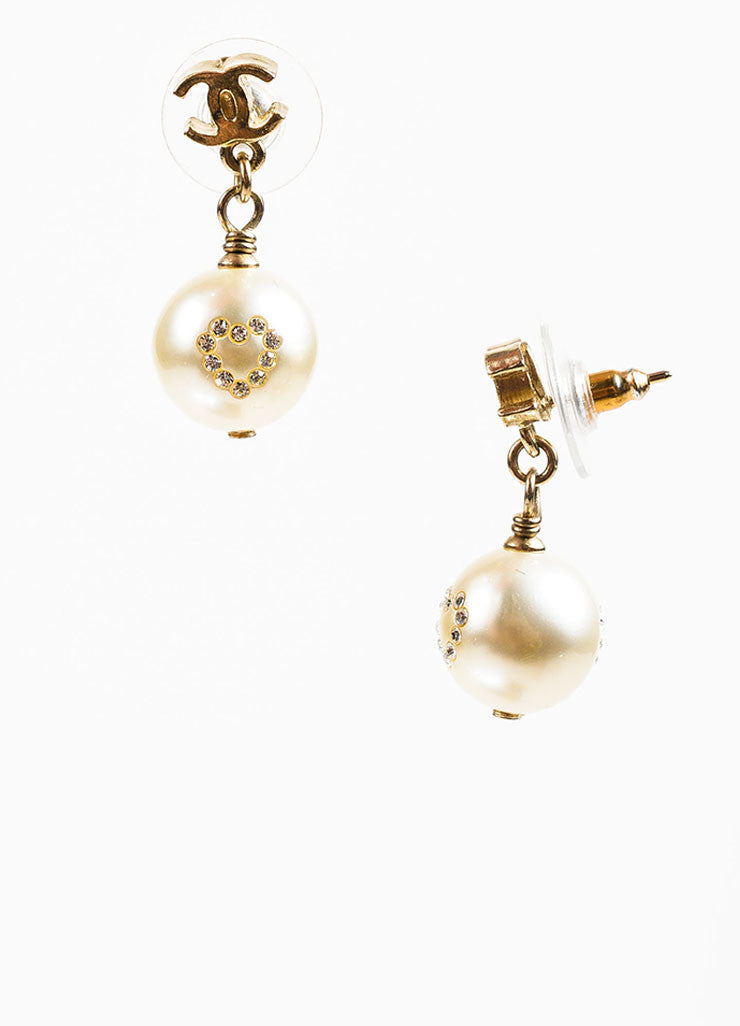 Gold Toned, Faux Pearl, and Rhinestone Heart Chanel 'CC' Logo Drop Earrings Sideview