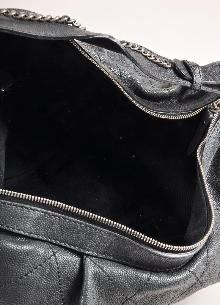"Chanel Black Caviar Leather Diamond Stitched ""CC"" Logo Chain Detail Hobo Bag Interior"