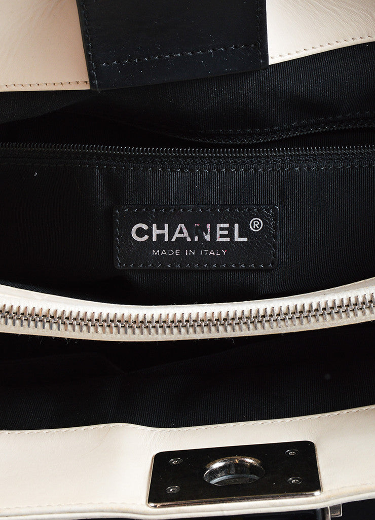 "Chanel Black and Cream Leather Quilted Trim Chain Strap ""Boy"" Shopper Tote Bag Brand"