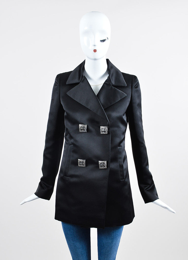 Black Silk Chanel Square Gripoix Button Jacket Frontview 2