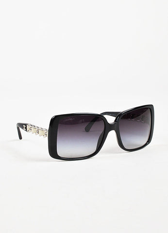 Chanel Black Silver Toned Cream Chain Link Square Frame Sunglasses Sideview