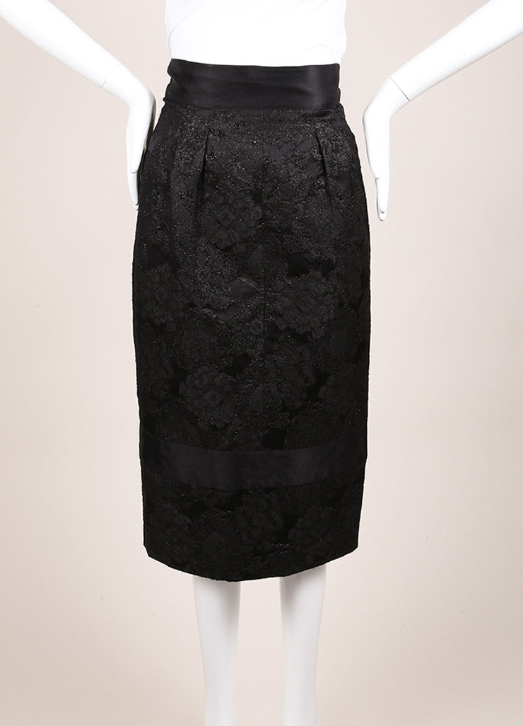 Chanel Black Wool and Silk Floral Brocade Embroidered Pencil Skirt Frontview