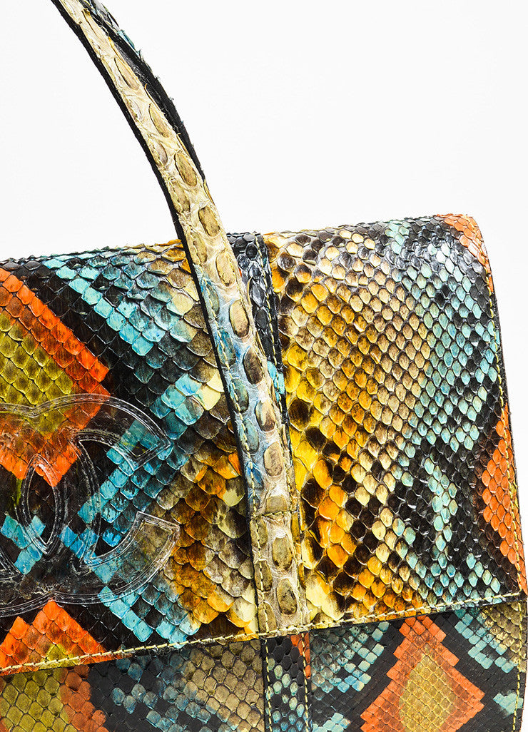 Blue and Orange Chanel Python Snakeskin 'CC' Top Handle Flap Clutch Bag Detail 2