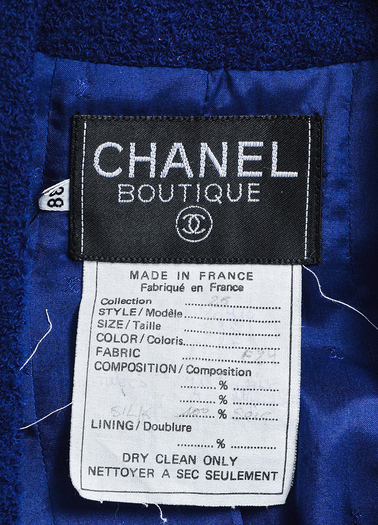 Blue Chanel Tweed Double Breast Jacket and Skirt Suit Brand