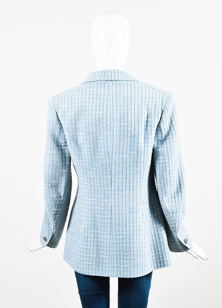 Chanel Light Blue and Multicolor Wool Tweed Plaid Collared Jacket Backview