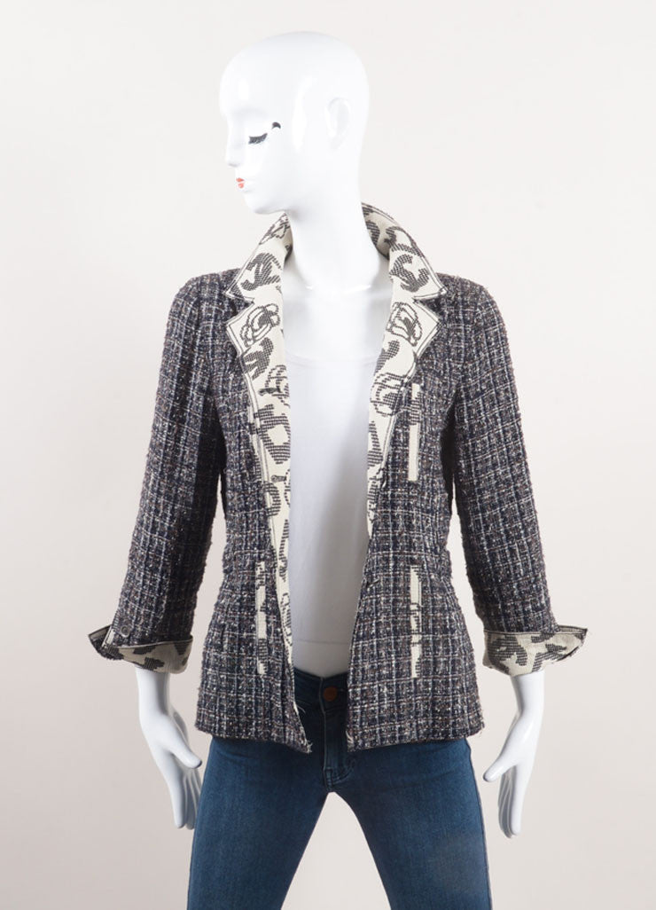 "Chanel Navy Blue Tweed ""CC"" Collar Belted Jacket Frontview"