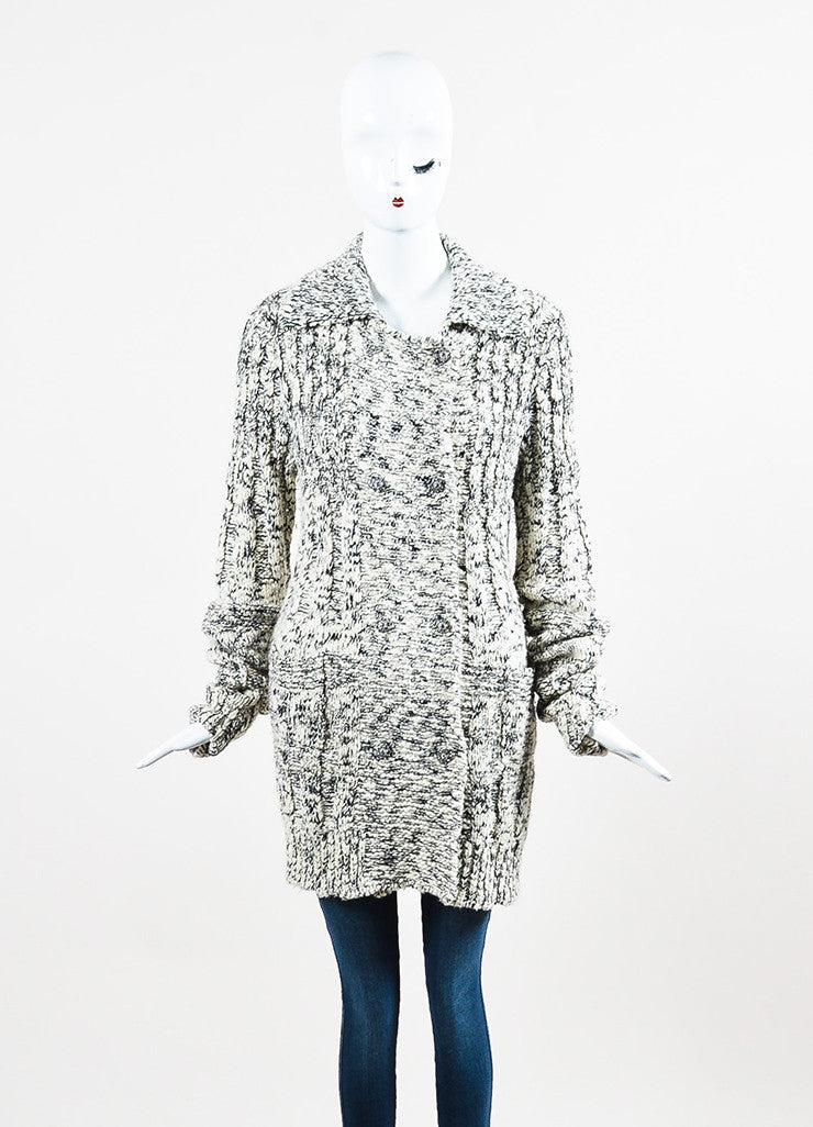 Chanel White and Black Wool Blend Knit Rhinestone Embellished Cardigan Frontview 2