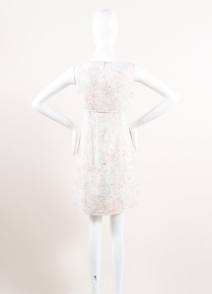 Chanel White, Blue, and Pink Floral Print Empire Waist Sleeveless Cotton Dress Backview