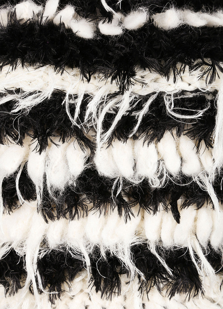 Chloe New With Tags Black and Cream Mohair and Alpaca Striped Shaggy Pullover Sweater Detail
