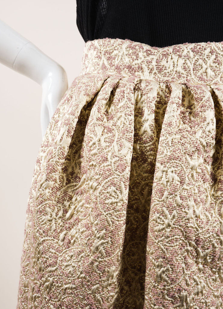 Christian Dior Gold, Silver, and Mauve Wool and Silk Metallic Brocade Wrap Skirt Detail