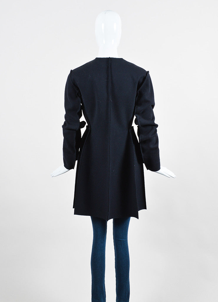 Christian Dior Navy Wool Exposed Seam Double Breasted Coat Backview