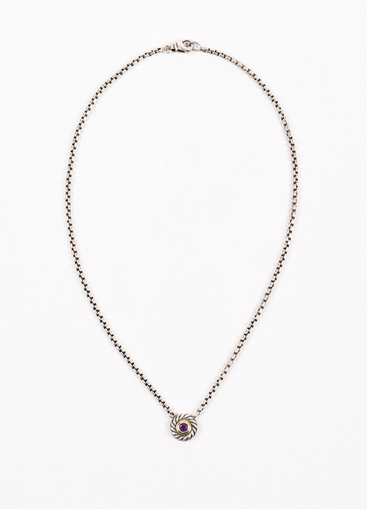 "David Yurman 14K Gold, Sterling Silver, and Amethyst ""Color Classic"" Pendant Necklace Frontview"