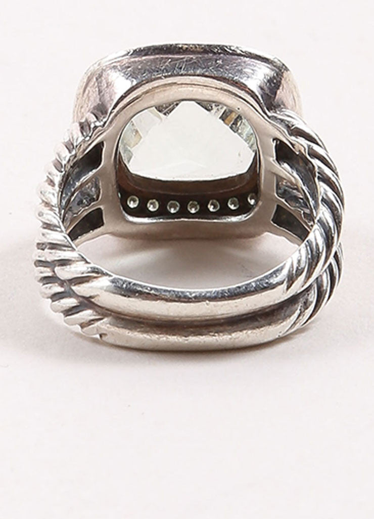 "David Yurman Sterling Silver, Prasiolite, and Pave Diamond Rope ""Albion"" Ring Backview"