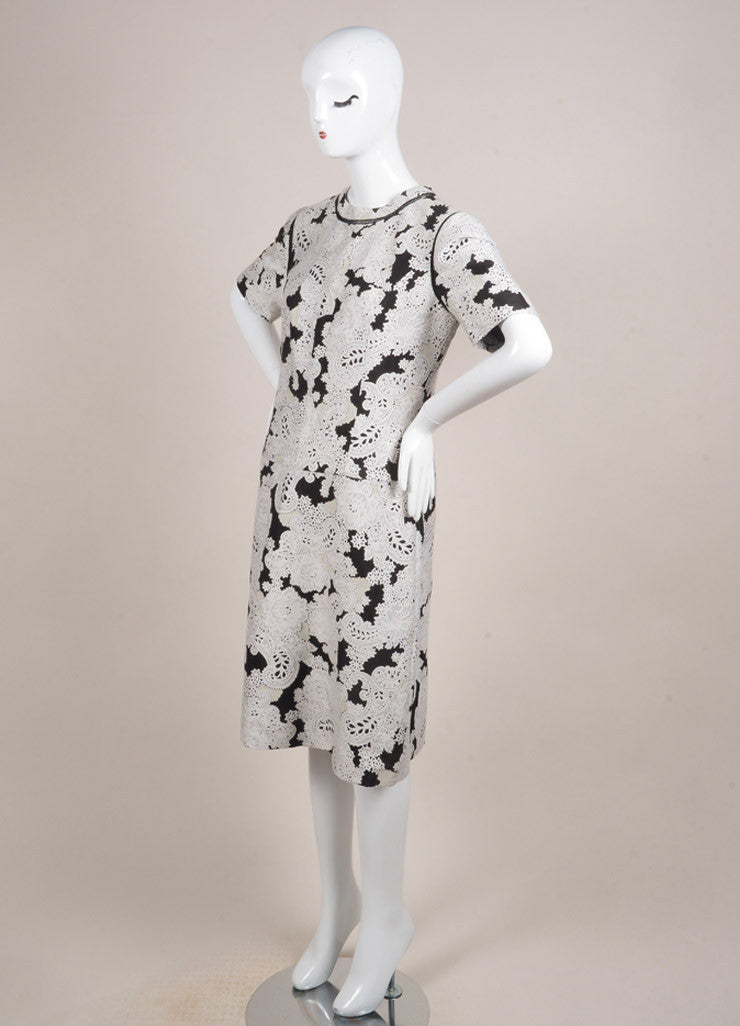 Derek Lam New With Tags White and Black Wool Blend Embroidered Paisley Short Sleeve Dress Sideview