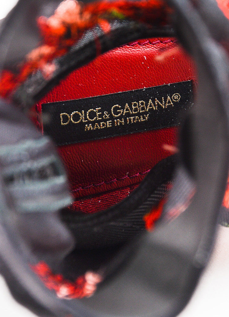 Dolce & Gabbana Black and Red Mesh Rose Suede Heel Sock Booties Brand
