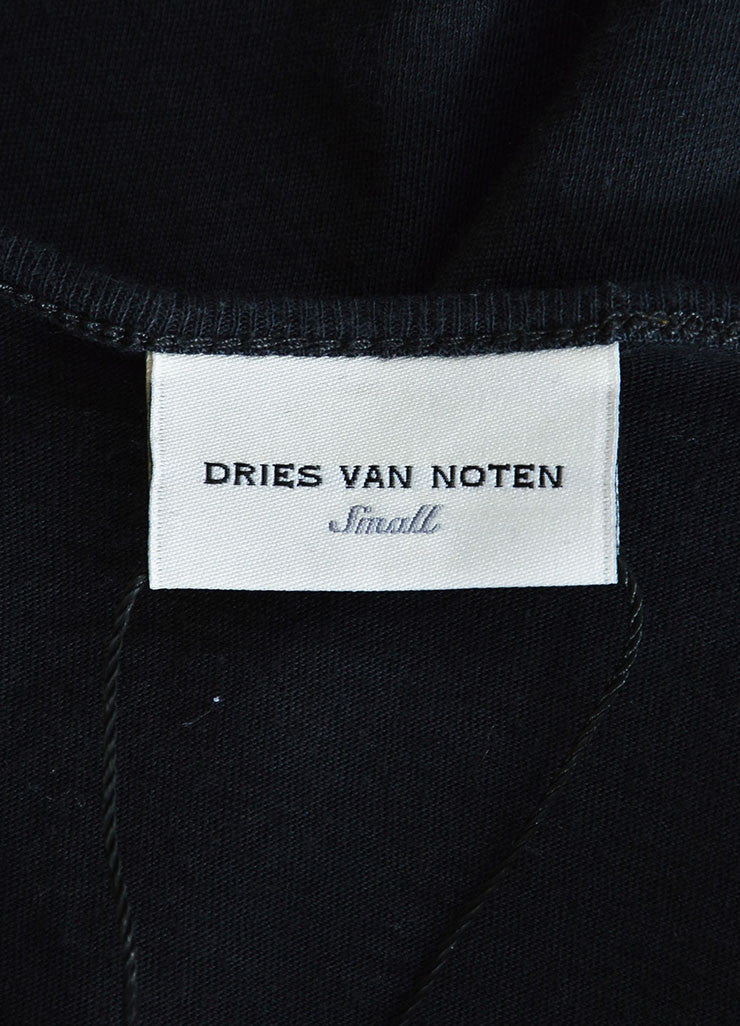 Dries van Noten Black and Yellow Cotton and Silk Floral Print Short Sleeve T-Shirt Brand