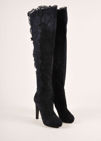 Ermanno Scervino Navy Suede Leather and Lace Over the Kneed Boots Frontview