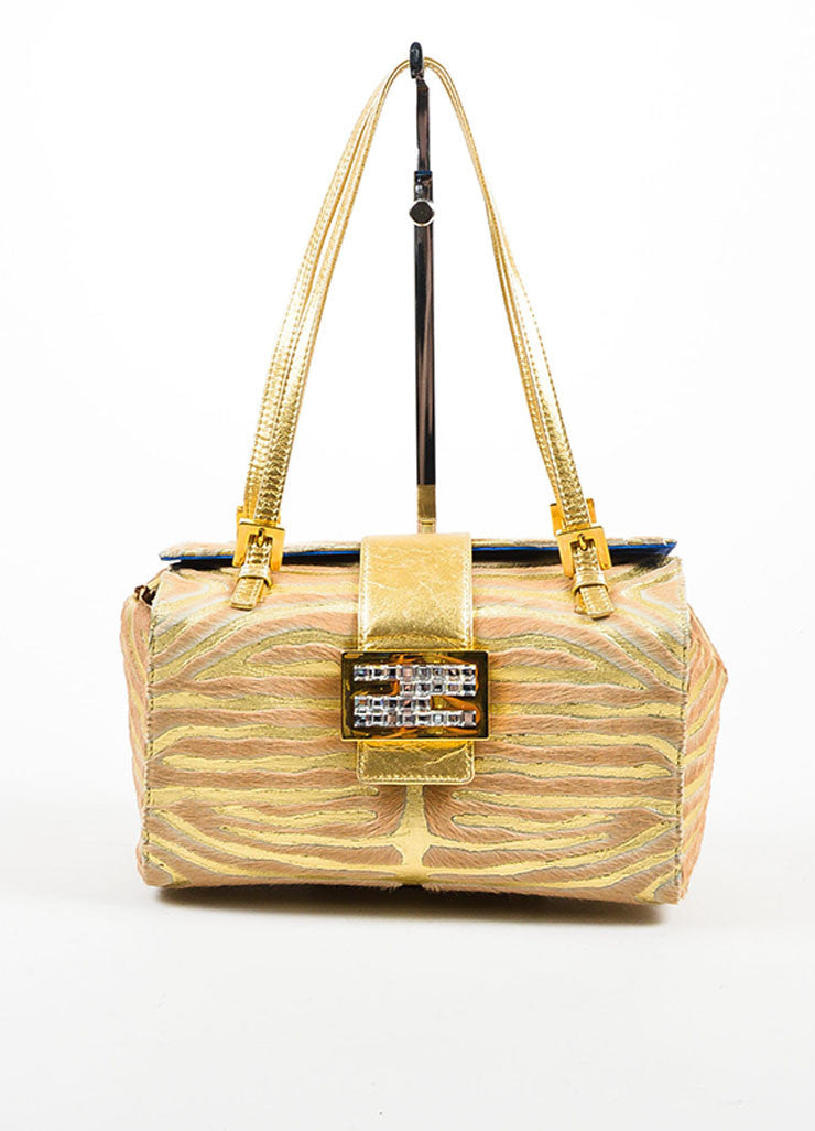 Fendi Metallic Gold and Tan Leather Pony Hair and Swarovski Crystal Box Bag Frontview